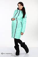 Длинное двухстороннее пальто для беременных kristin (цвет черный с мятным) s Юла мама