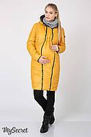 Пальто для беременных с силиконовым утеплителем, со вставкой на живот kristin (графит с горчицей) s Юла мама