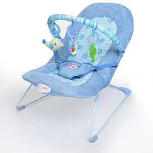 Детский шезлонг вибро Bambi 30606 голубой