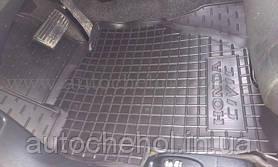 Качественные черные резиновые коврики в салон Honda Civic LS, AVTOGUMM
