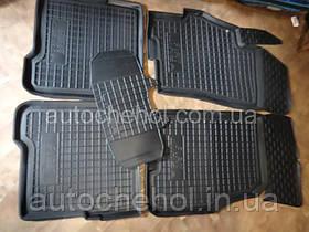 Качественные черные резиновые коврики на Fiat Linea, Автогум