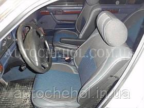 Сірі автомобільні чохли на сидіння BMW E 34,Premium, синя нитка, MW BROTHERS