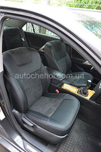 Серые авточехлы на Toyota Venza, арпатек и алькантара Leather Style, MW