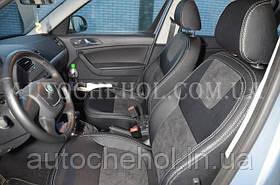 Серые кожаные авточехлы на Skoda Yeti, чехлы на шкоду ети,Leather StyLe MW BROTHERS