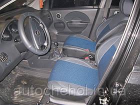 Синие чехлы на Chevrolet Aveo 5D, чехлы на авео. MW BROTHERS
