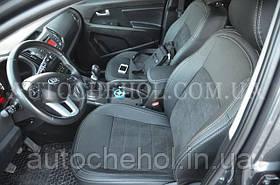 Темные авточехлы на сиденья Kia Sportage III из алькантары и арпатеки, Leather StyLe, MW BROTHERS