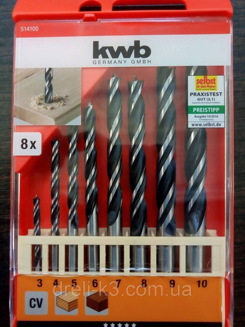 Набор спиральных сверл по дереву 3-10 мм. KWB