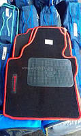 Черно-красные текстильные коврики для Volkswagen CADDY эксклюзив