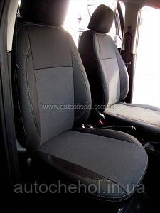 Черные чехлы на сиденья Fiat Linea 2013(цельная спинка). MW BROTHERS