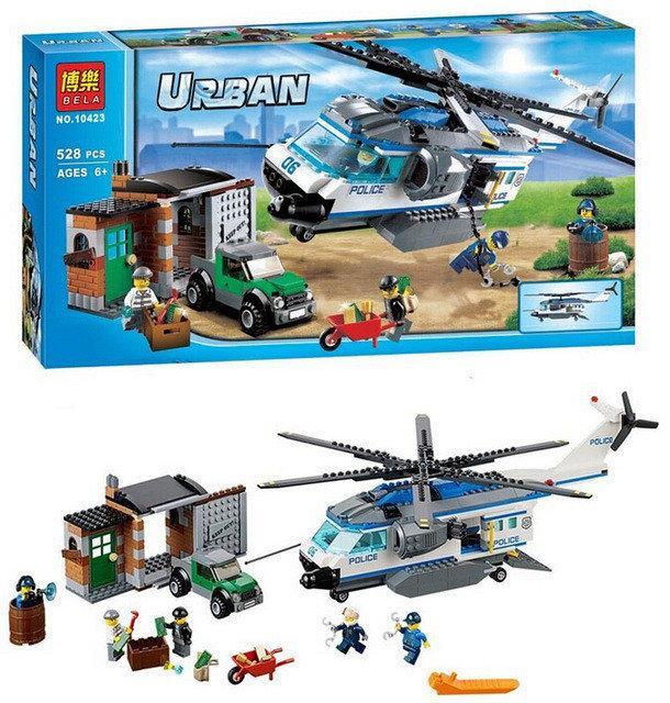 """Конструктор Bela 10423 Urban """"Вертолётный патруль"""" 528 деталей."""