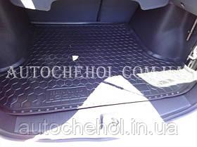 Черный качественный коврик в багажник Renault Logan 2012, autogumm
