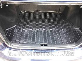 Черный качественный коврик в багажник Renault Logan 2013, autogumm