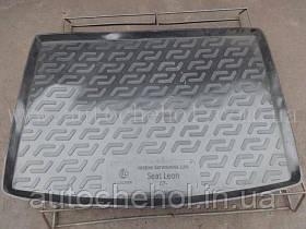 Черный качественный коврик в багажник Seat Leon