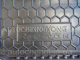 Черный качественный коврик в багажник Ssang Young Rexton, autogumm