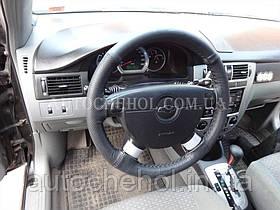 Черный качественый оплет руля Chevrolet, кожа, самосшиваемый