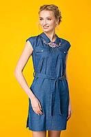 Платье джинсовое с колье ДОННА синее, фото 1