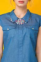 Платье джинсовое с колье ДОННА голубое, фото 1