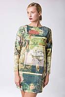 Платье прямое с принтом BOOK зеленое, фото 1