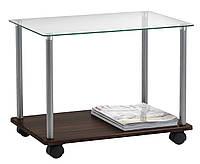 Столик стеклянный кофейный на колесиках 40x60х45см