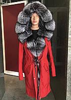 Зимняя парка красная мех чернобурая лиса 44