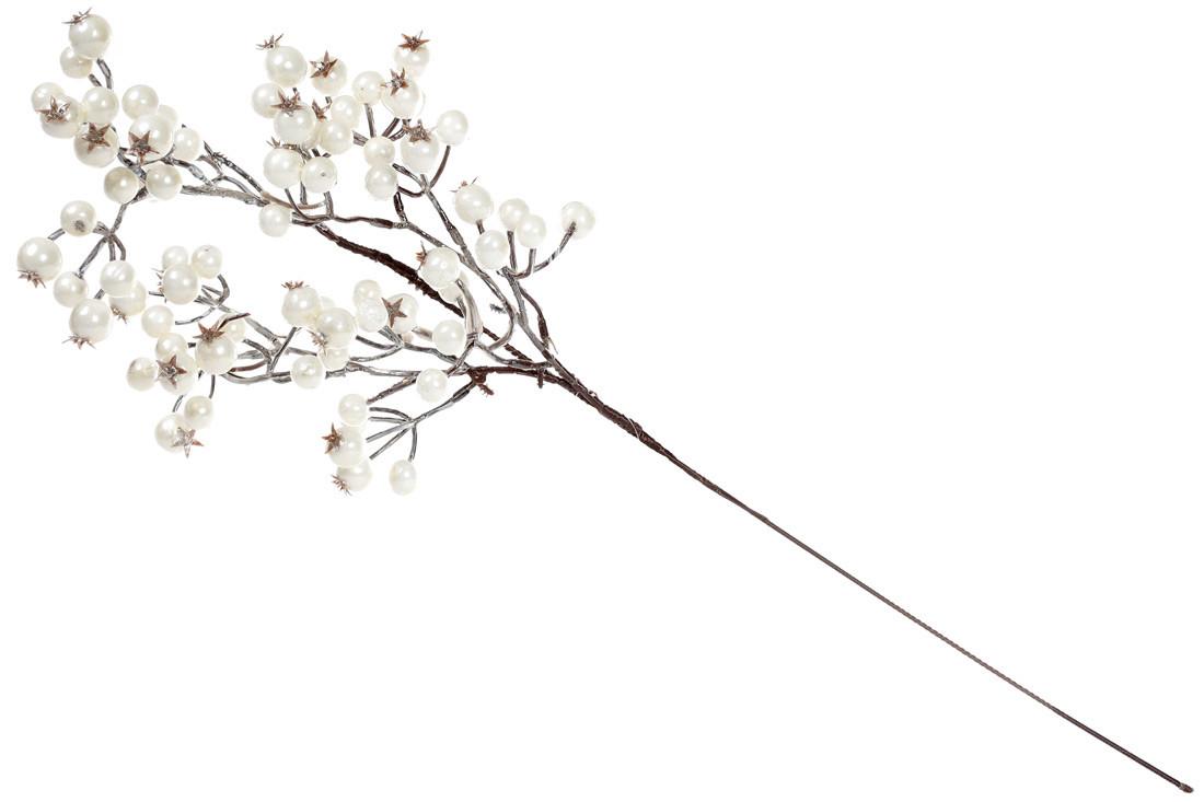 Декоративная ветка с ягодами, цвет - белый, 68см (734-109)