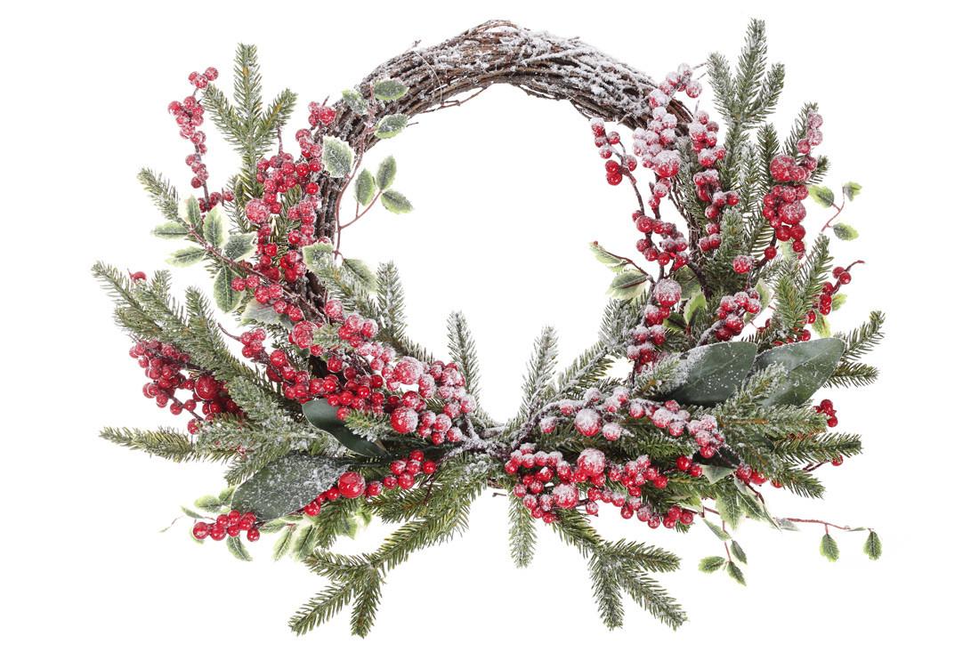 Новогодний венок из заснеженной хвои с декором из ягод и листьев 45см (734-501)