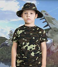 Панама детская для мальчиков камуфляж темный лес, фото 3