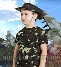 Панама детская для мальчиков камуфляж темный лес, фото 2