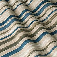 Ткань для штор в синюю и серую полоску на белом