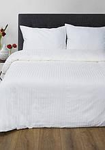Постельное белье Lotus Сатин Страйп белое 1*1 евро размер (Турция)