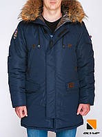 Модная зимняя мужская куртка парка - Olymp – Montana синий