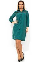 Женское платье-рубашка изумрудного цвета размеры от XL ПБ-119