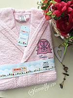 Детский банный махровый халат с капюшоном розовый Ramel
