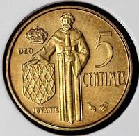 Монета Монако 5 сантимов 1995 г. UNC из набора