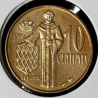 Монета Монако 10 сантимов 1995 г. UNC из набора