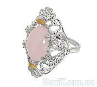"""Серебряное кольцо с золотыми накладками """"Джамала"""" розовый кварц"""