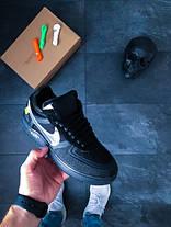 Мужские кроссовки Nike x Off-White Air Force 1 Low Black топ реплика, фото 3