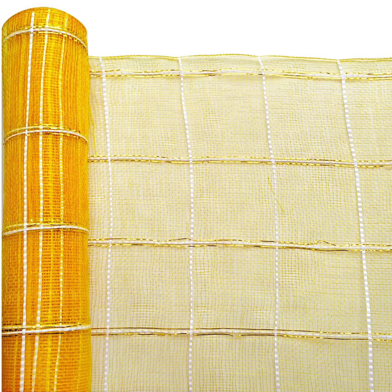 Сетка флористическая Check mesh шотландка оранжевая