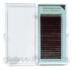 Коричневые ресницы Nagaraku 0,07 D 7-15 (20 линий)