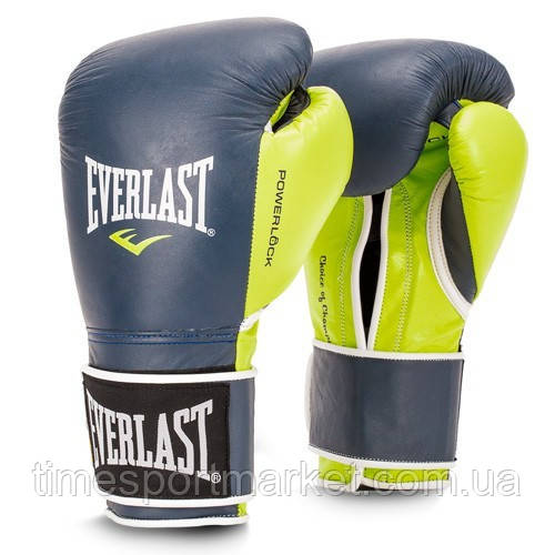 ПЕРЧАТКИ ТРЕНИРОВОЧНЫЕ EVERLAST POWERLOCK HOOK & LOOP TRAINING GLOVES NAVY/GREEN