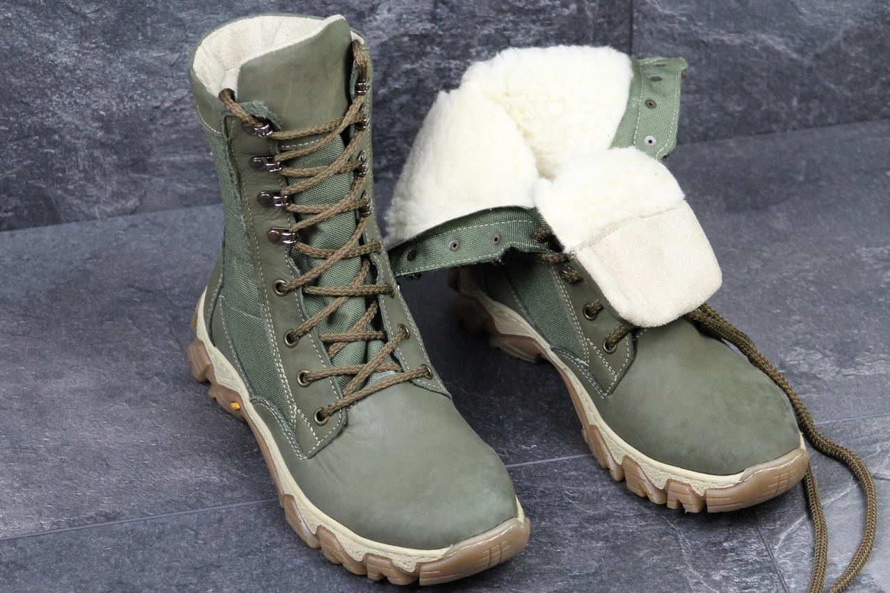 Армейские ботинки,зимние берцы нубук,темно зеленые