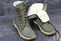 Армейские ботинки,зимние берцы нубук,темно зеленые 40р