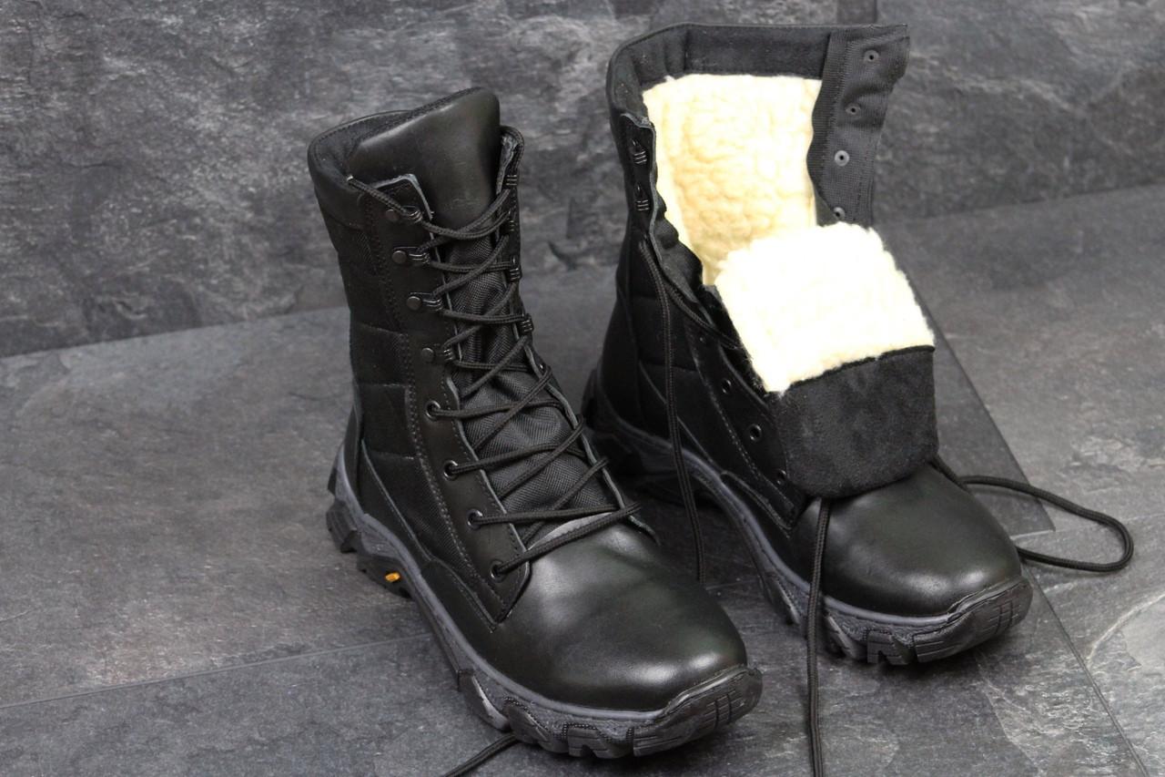 Армейские ботинки,зимние берцы натуральная кожа,черные