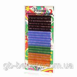 Fantasy Микс двухтоновых ресниц (6 цветов) 0,1 D 12 (20 линий)
