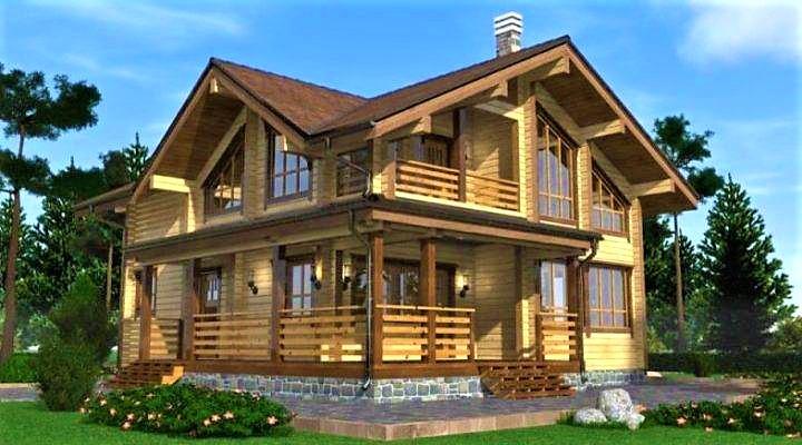 Дом двухэтажный деревянный из профилированного клееного бруса 12х10 м