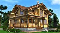 Дом двухэтажный деревянный из профилированного клееного бруса 12х10 м, фото 1