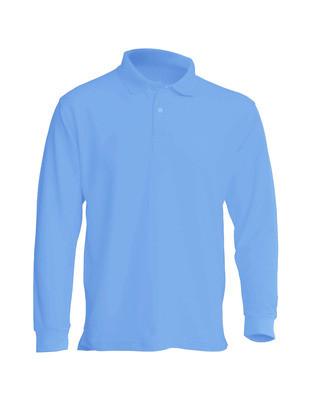Мужская рубашка поло с длинным рукавом, голубая