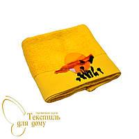 Полотенце лицевое 50*100, велюр с вышивкой, желтый