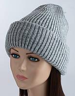 Женская шапка с отворотом Регина светло-серая