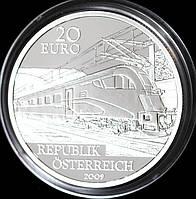 Серебряная монета Австрии 20 евро 2009 г. Электрическая железная дорога. Пруф